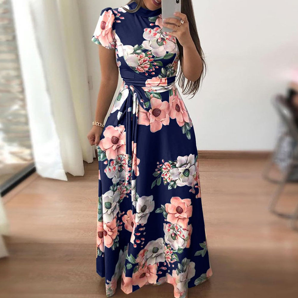 Autumn Women's Casual Romantic Floral Printed Chiffon Long Dress