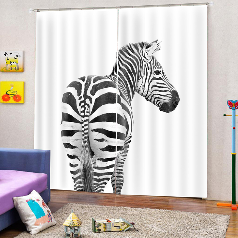 3D Digital Animal Print White Blackout Curtains with Zebra Design