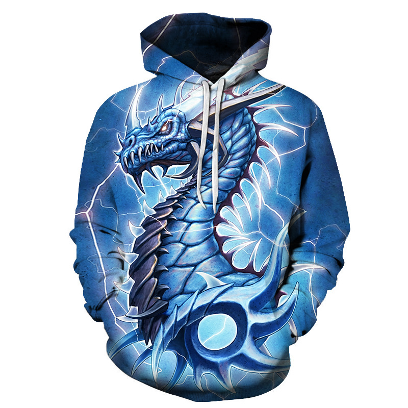 Garment Dyed 3D Dragon Pullover Loose Men's Hoodies with Pockets 95% Polyester 4% Spandex Comfortable Soft Breathable and Durable