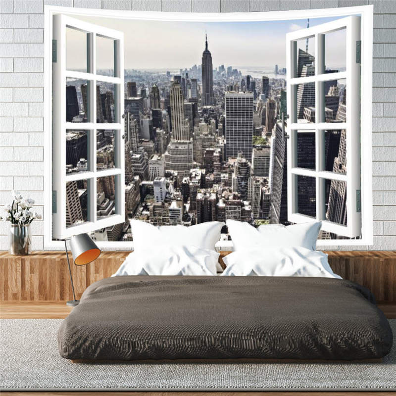 3D Modern City Wall Tapestries Home Decoration Wall Decorations Bedspread Bed Cover Table Cloth Curtain