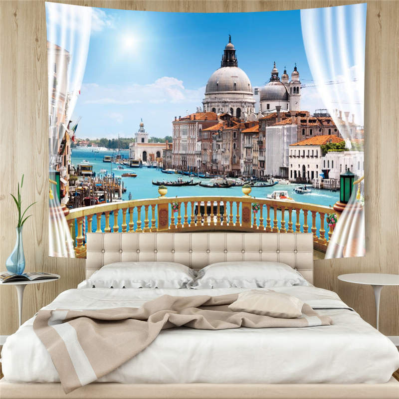 3D Venetian Castle Wall Tapestry Home Decoration Wall Decorations Bedspread Bed Cover Table Cloth Curtain