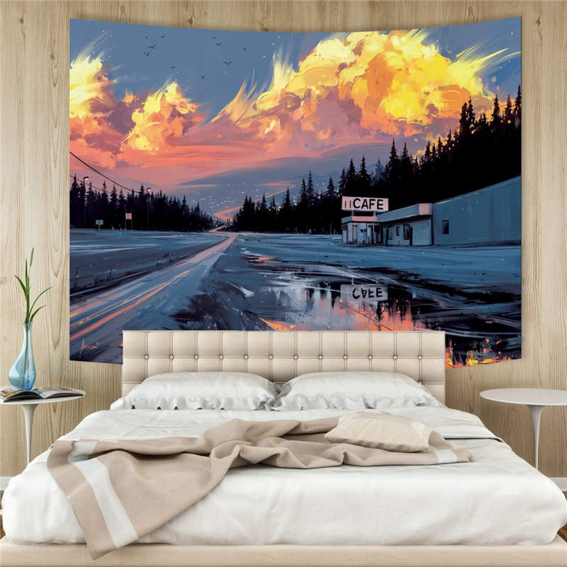 3D Highway Cafe Wall Tapestry Home Decoration Wall Decorations Bedspread Bed Cover Table Cloth Curtain