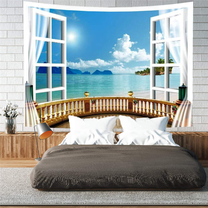 3D Holiday Beach Window Wall Tapestries Home Decoration Wall Decorations Bedspread Bed Cover Table Cloth Curtain