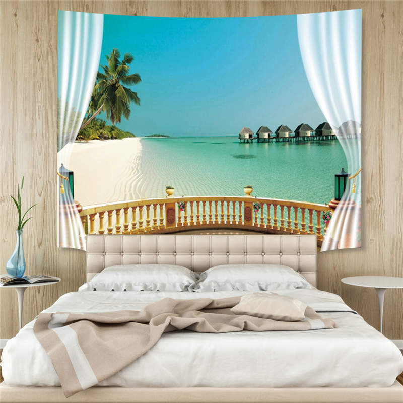 3D Summer Beach Hoilday Style Wall Tapestry Home Decoration Wall Decorations Bedspread Bed Cover Table Cloth Curtain