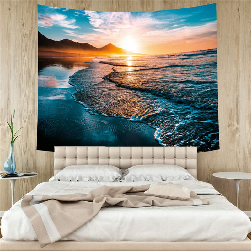 3D Beach and Sea Wall Tapestries Home Decoration Wall Decorations Bedspread Bed Cover Table Cloth Curtain