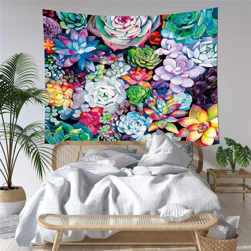 3D Succulent Green Plant Wall Tapestries Home Decoration Wall Decorations Bedspread Bed Cover Table Cloth Curtain