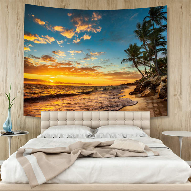 3D Palm Tree and Beach Wall Tapestry Home Decoration Wall Decorations Bedspread Bed Cover Table Cloth Curtain