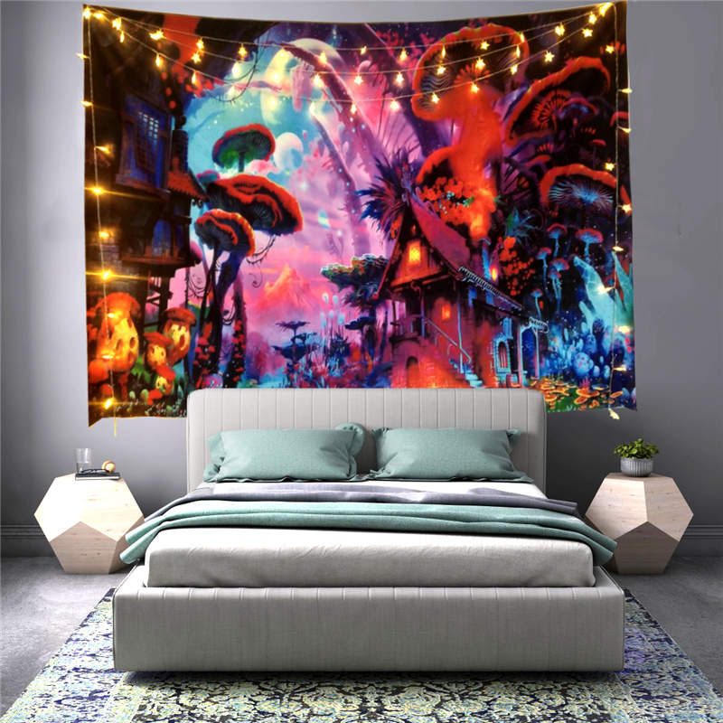 3D Mushroom Home Wall Tapestries Home Decoration Wall Decorations Bedspread Bed Cover Table Cloth Curtain